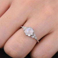 Woman Moonstone Silver plated Jewelry Wedding Engagement Party Ring Size 6-10