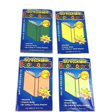 """Stretchable Book Cover Washable Fabric Fits up to 8x10"""" for School Bks Lot of 4"""