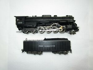 RIVAROSSI HO PERE MARQUETTE 1222 STEAM ENGINE 2-8-4 AND TENDER UNTESTED AS IS