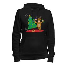 Betrunkenes Rentier Damen Kapuzen Pullover Hoodie Geschenk Idee Weihnachten Neu