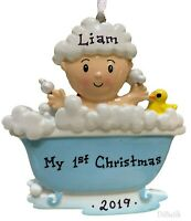 BATH TUB SHOWER BABY'S BOY'S FIRST 1ST CHRISTMAS PERSONALIZED CHRISTMAS ORNAMENT