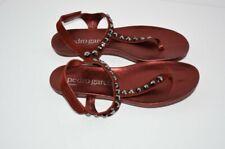 Pedro Garcia 39.5 Judith Crystal Stud Thong T-Strap Flat Sandals Red Shoe