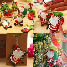 2Pc Lovely Santa Claus Xmas Tree Ornament Decoration Christmas Keychains Keyring
