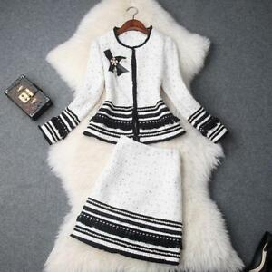 Luxury Womens Wool Coat+Skirt Suits White/Black Suits 2/pcs Winter Outwear New Y