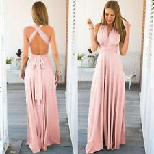 Women Stretchy Convertible Multi Way Bridesmaid Long Gown Maxi Party Dress W2V4