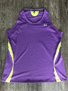 Woman's Under Armour Size Medium Purple/Lime Green Heat Gear Athletic Tank Top