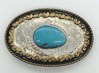 Vintage Comstock Bonded Sterling Silver & Turquoise Western American Belt Buckle