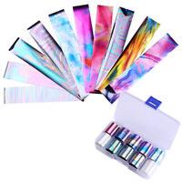 10Pcs Holographic Nail Foil Set Transparent AB Color Nail Art Transfer Stickers