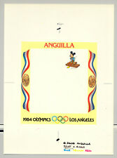 Anguilla 1984 Olympics, Disney 1v Imperf Chromalin Proof of M/S Background