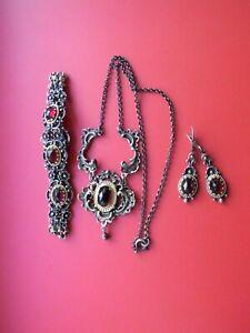 Wunderschönes Trachten Schmuckset Silber mit Granate, Collier, Armband Ohrhänger