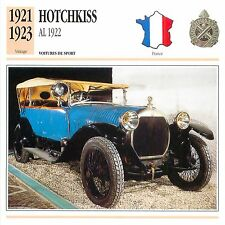 Hotchkiss AL 1922 4 Cyl. Sport 1921-1923 France CAR VOITURE CARTE CARD FICHE