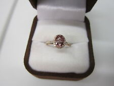 STUNNING ESTATE 14 KT GOLD 2.06 CTW. VIVID PINK ZIRCON AND DIAMOND RING  !!!!!!!
