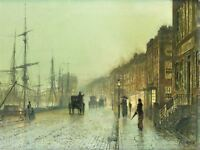 JOHN ATKINSON GRIMSHAW BLACKMAN STREET LONDON 1885 FRAMED ART PRINT B12X669