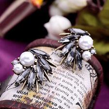 Elegant Women Irregular Big Stud Earrings Faux Pearl Rhinestone Jewelry Gift