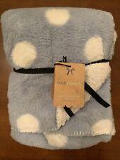 "Mon Lapin Faux Fur Luxury Baby Blanket Blue White Polka Dots 30"" x 40"" New"
