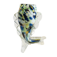 Art Glass Fish Vase Romanian Hand Blown Blue Green Clear Vintage 14cm x 12cm