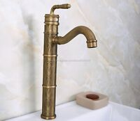 Tall Antique Brass Single Handle Bathroom Basin Sink Vessel Faucet Mixer Knf670