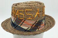 Vintage Nassau Bahamas Souvenir Straw Fedora Hat Multi-Colored Straw Size 6 1/2