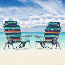 2 Tommy Bahama Backpack Beach Folding Deck Chair Blue Green Stripes 2020