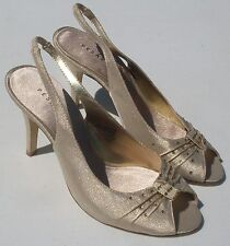 Pesaro Barely Used 'Melissa' Gold Heels Leather Sole Shoes Women's Sz 7M (EUC)
