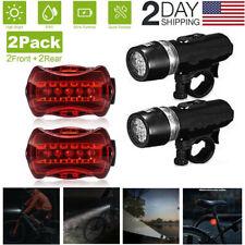 2-Set Waterproof 5 LED Lamp Bike Bicycle Front Head Light+Rear Safety Flashlight