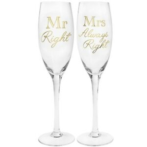 """Mr Right And Mrs Always Right Twin Champagne/Wine Glass Gift Set """"Gold Edition"""""""