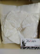 NEW IN BOX! White/ Ivory Floral Satin Ring Pillow With Pearl's 20x20 cm