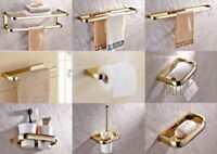 Gold Color Brass Modern Luxury Bathroom Accessories Wall Mounted Hardware Set