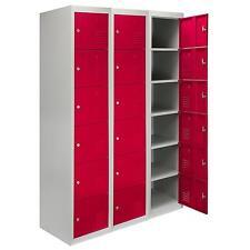 Steel Lockers 6 Doors Lockable Metal Storage Staff Gym Changing Room School Red