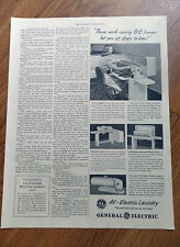 1948 GE General Electric De Luxe Automatic Rotary Ironer Ad