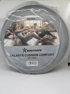 "BODYMATE Comfort Wobble Cushion, Balance Cushion, with Pump  33cm 13"" Silver"