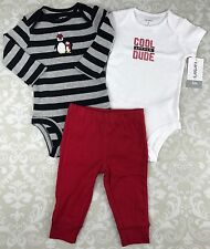 NWT Baby Boy 3 Mo Outfit Set Carters 3 Piece Black Grey Red Penguin Cool Dude