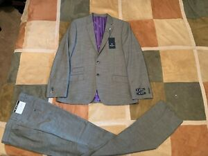 Ben Sherman aske mid grey stretch suit 42 R 35 W mens NEW