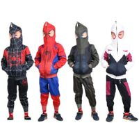 Kids Boys Spiderman Miles Morales Hoodies Jacket Pant Gwen Stacy Cosplay Costume