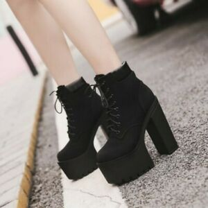Women Platform Super High Block Heel Ankle Boot Lace Up Nightclub Fall Shoes D