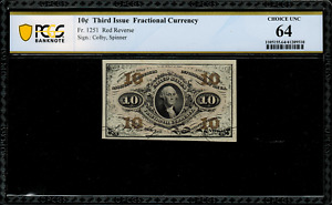 Fr-1251 $0.10 Third Issue Fractional Currency - 10 Cent - PCGS 64