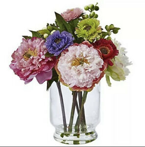 Nearly Natural 4586 Peony and Mum in Glass Vase NEW Fast Free Shipping