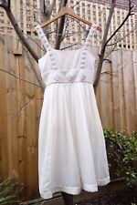 Kit Willow White Silk Cotton Dress with Crochet detail UK AUS 10 RRP$560