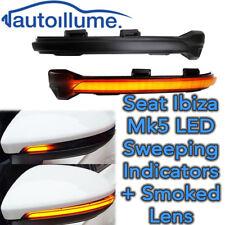 Sweeping Dynamic LED Wing Door Mirror Indicator Light Seat Ibiza Mk5 FR Smoked