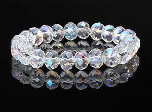 Clear Crystal Ab Elasticated Bracelet