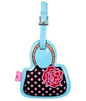 FLUFF Travel Luggage Bag ID Suitcase Tag BLACK HANDBAG PURSE Pink Dots Flower