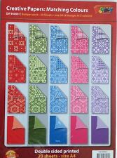 A4 de doble cara papel modelado PACK C - 20 Hojas-Varios Colores