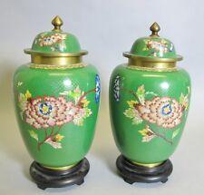 "Superb Pair of 10"" Antique Chinese ""High"" Cloisonne Vases  c. 1920s  Ginger Jar"