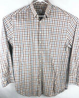 PETER MILLAR Button Up Brown/Blue Plaid Shirt Size MEN Large 100% Cotton