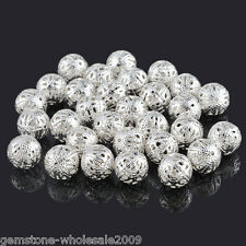 50PCS Wholesale Lots Silver Plated Filigree Ball Spacer Beads 12mm Dia