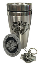 Harley Davidson Bar & Shield Auto Truck Travel Pax Gift Set Thermal mug keychain
