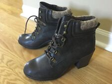 Woman's Size 8.5 Brown Ankle Heeled Combat Boot Booties Mia Teddy's Faux Leather