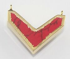 Plated Connector Making Jewelry D849 Chevron Shape Stunning Red Turquoise Gold