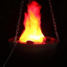 LED Hanging Fake Flame Lamp Torch Light Fire Pot Bowl Halloween Prop Decoration^