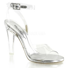 """4"""" Clear Plastic Bikini Fitness Model Pageant Competition Heels Shoes Womans"""
